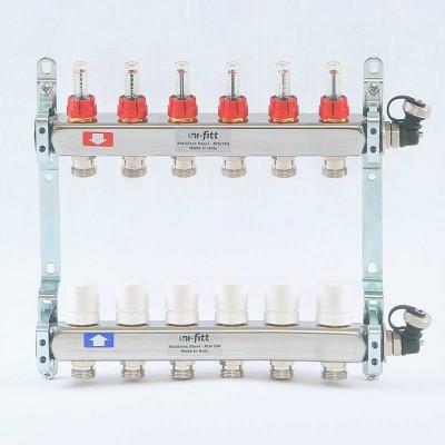 """Коллекторная группа из нержавеющей стали с расходомерами и термостатическими вентилями 1"""" х 2 вых - 3/4"""