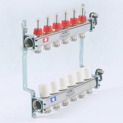 Коллекторная группа из нержавеющей стали с расходомерами и термостатическими вентилями 1' х 4 вых - 3/4