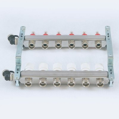 Коллекторная группа из нержавеющей стали с расходомерами и термостатическими вентилями 1' х 7 вых - 3/4
