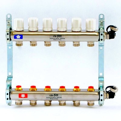 Коллекторная группа из нержавеющей стали с регулировочными и термостатическими вентилями 1' х 10 вых - 3/4