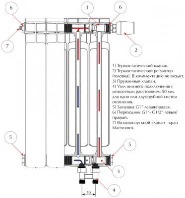 Радиатор биметаллический Rifar Base Ventil 500/ 14 секций, НП, правое, BVR