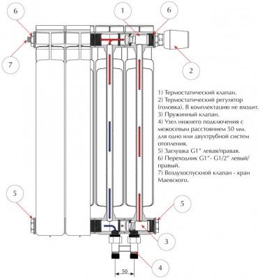 Радиатор биметаллический Rifar Base Ventil 500/ 6 секций, НП, правое, BVR
