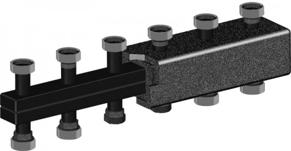 Распределительный коллектор из черной стали Meibes 5 контуров