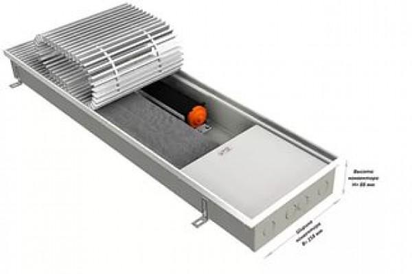 Встраиваемый в пол (внутрипольный) конвектор EVA KB80-3000 с вентилятором, теплоотдача 4561 - 6382 Вт