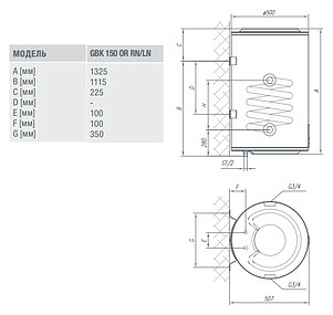 Бойлер косвенного нагрева Gorenje GBK 150 ORLNB6