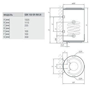 Бойлер косвенного нагрева Gorenje GBK 150 ORRNB6